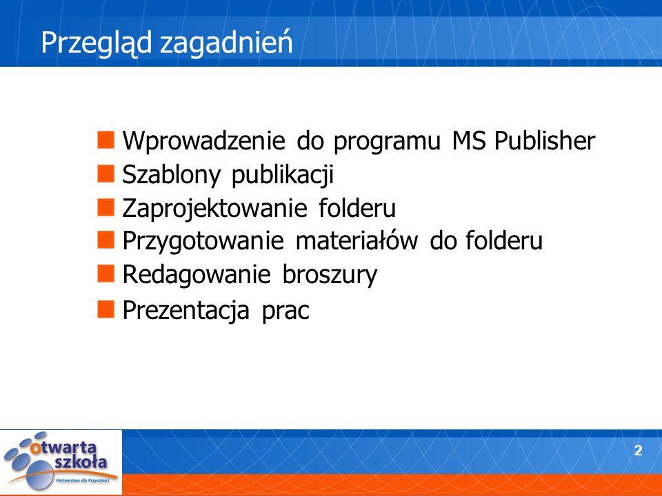 2 Przegląd zagadnień Wprowadzenie do programu MS Publisher Szablony publikacji Zaprojektowanie folderu Przygotowanie materiałów do folderu Redagowanie