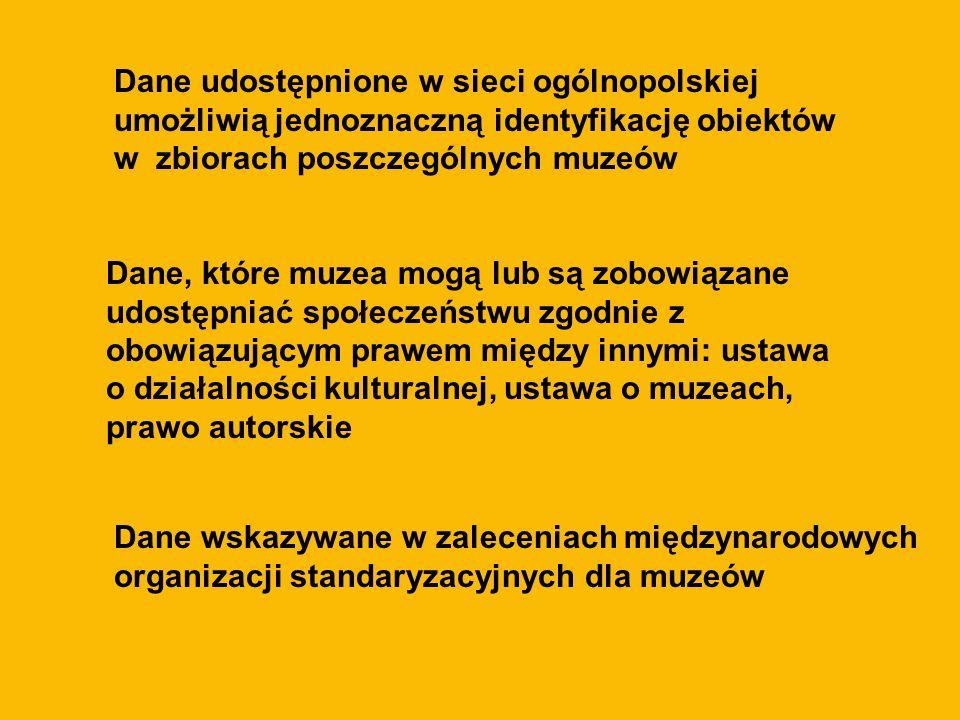 Dane udostępnione w sieci ogólnopolskiej umożliwią jednoznaczną identyfikację obiektów w zbiorach poszczególnych muzeów Dane, które muzea mogą lub są