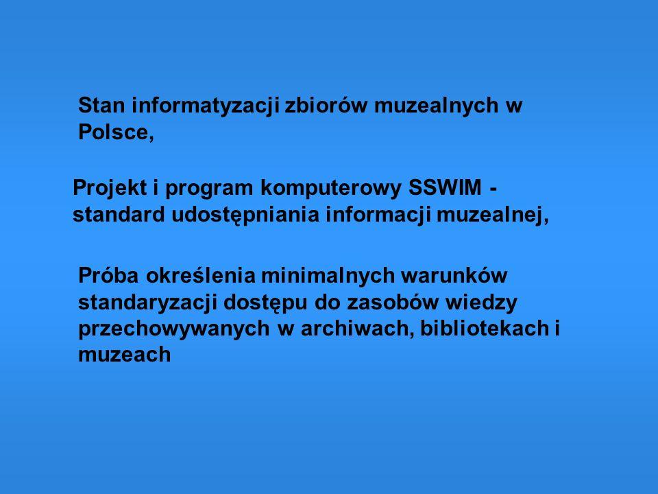 SIECIOWY SYSTEM WYMIANY INFORMACJI MUZEALNEJ (SSWIM) Organizator muzeum TurystykaEdukacja PolicjaUrzędy celne Instytucje Kultury