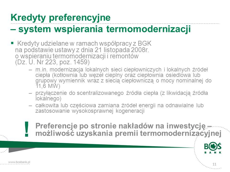 Kredyty udzielane w ramach współpracy z BGK na podstawie ustawy z dnia 21 listopada 2008r. o wspieraniu termomodernizacji i remontów (Dz. U. Nr 223, p