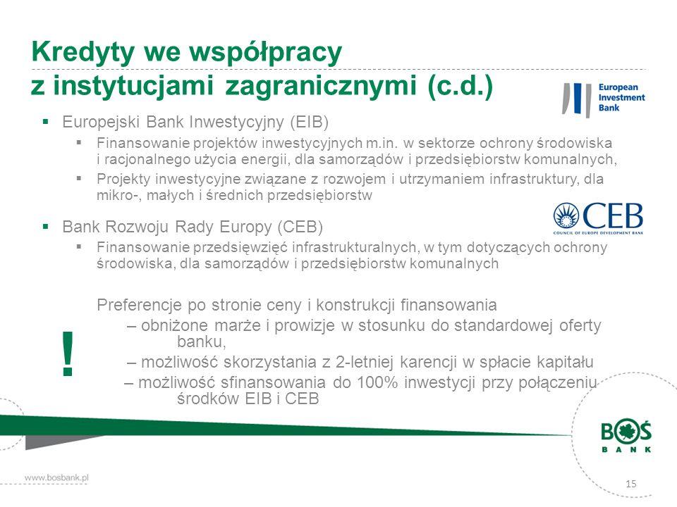 15 Kredyty we współpracy z instytucjami zagranicznymi (c.d.) Europejski Bank Inwestycyjny (EIB) Finansowanie projektów inwestycyjnych m.in. w sektorze