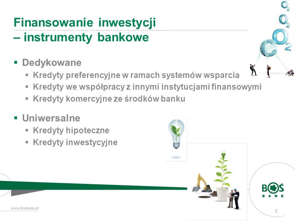 Dedykowane Kredyty preferencyjne w ramach systemów wsparcia Kredyty we współpracy z innymi instytucjami finansowymi Kredyty komercyjne ze środków bank
