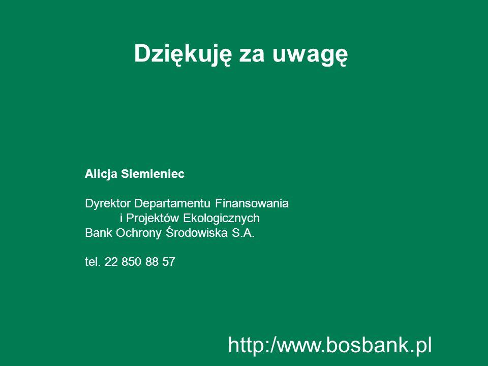 Dziękuję za uwagę Alicja Siemieniec Dyrektor Departamentu Finansowania i Projektów Ekologicznych Bank Ochrony Środowiska S.A. tel. 22 850 88 57 http:/
