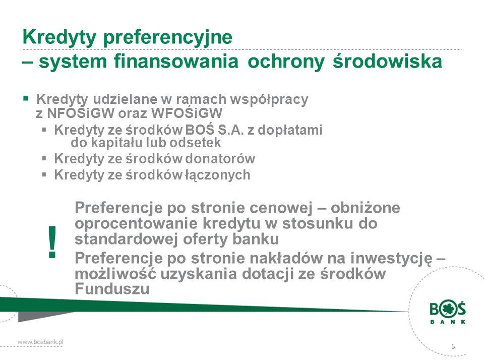 Kredyty udzielane w ramach współpracy z NFOŚiGW oraz WFOŚiGW Kredyty ze środków BOŚ S.A. z dopłatami do kapitału lub odsetek Kredyty ze środków donato