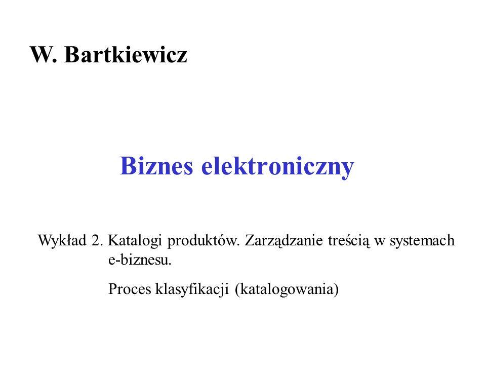 Biznes elektroniczny W.Bartkiewicz Wykład 2. Katalogi produktów.