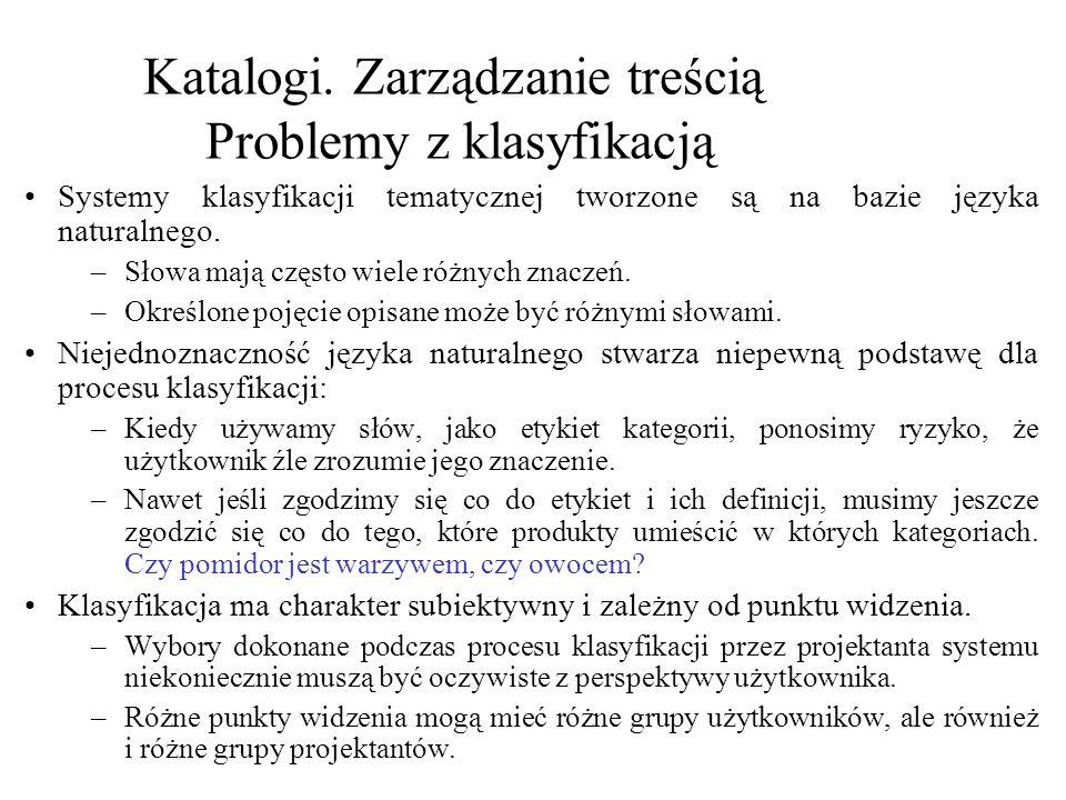 Katalogi. Zarządzanie treścią Polska Klasyfikacja Wyrobów i Usług Grupy i klasy– wybrane przykłady