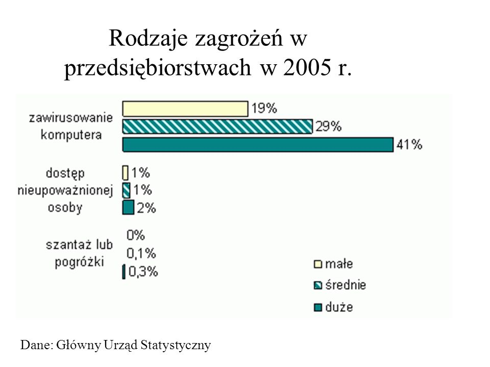 Rodzaje zagrożeń w przedsiębiorstwach w 2005 r. Dane: Główny Urząd Statystyczny