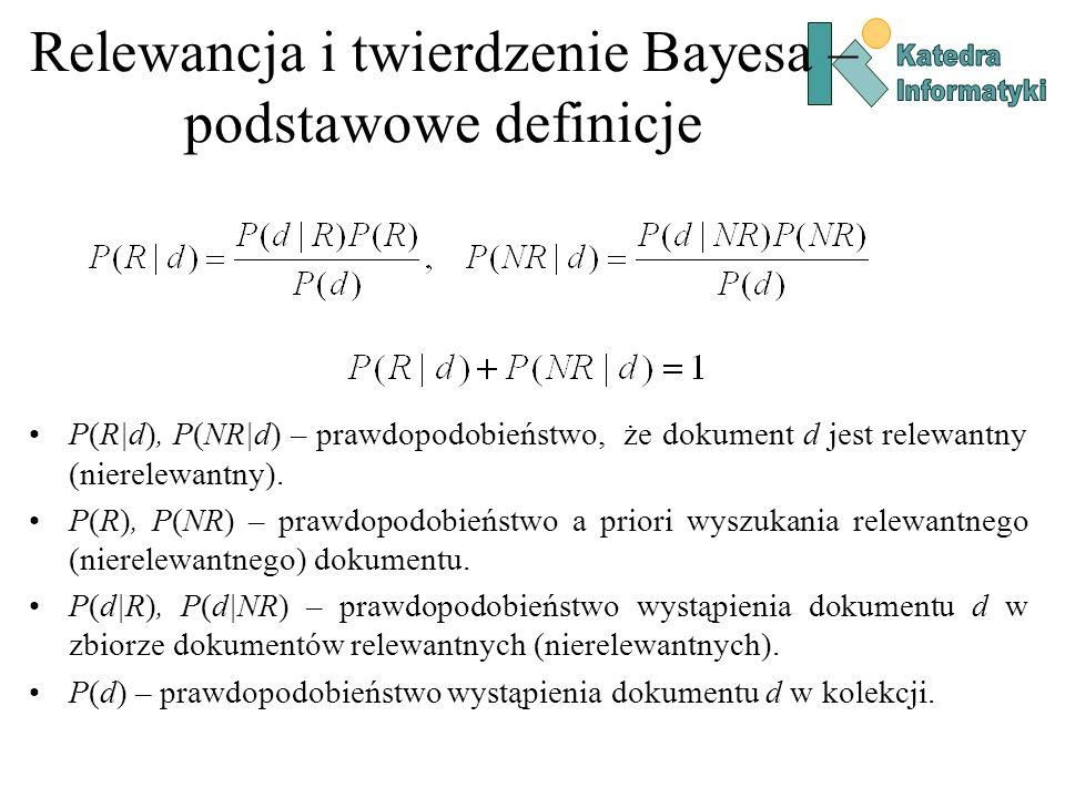 Relewancja i twierdzenie Bayesa – podstawowe definicje P(R|d), P(NR|d) – prawdopodobieństwo, że dokument d jest relewantny (nierelewantny). P(R), P(NR