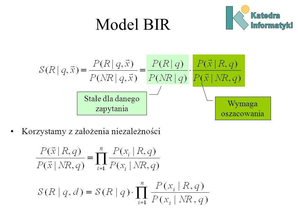 Model BIR Korzystamy z założenia niezależności Stałe dla danego zapytania Wymaga oszacowania