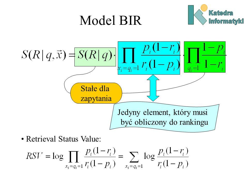 Model BIR Stałe dla zapytania Jedyny element, który musi być obliczony do rankingu Retrieval Status Value: