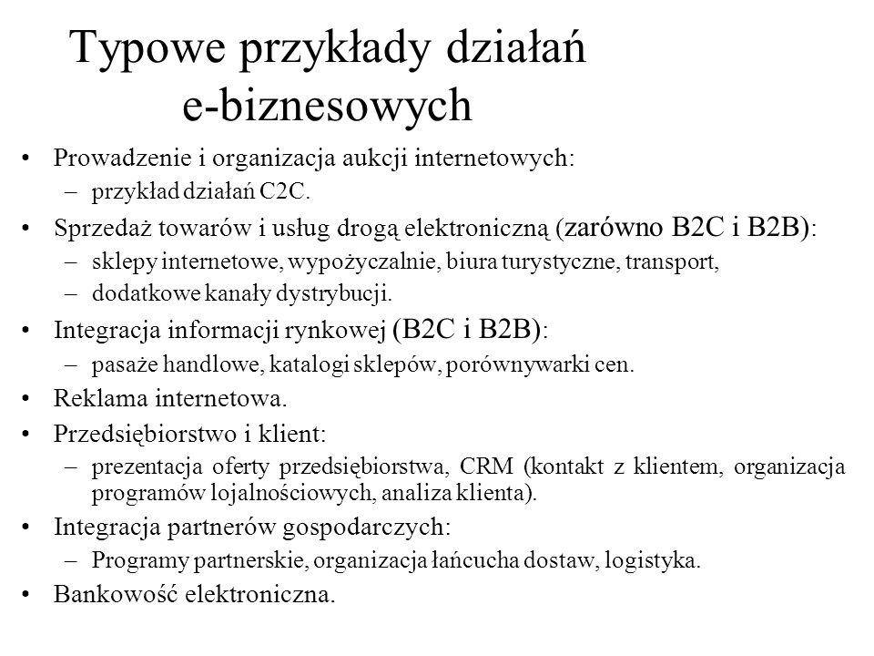 Prowadzenie i organizacja aukcji internetowych: –przykład działań C2C. Sprzedaż towarów i usług drogą elektroniczną ( zarówno B2C i B2B) : –sklepy int
