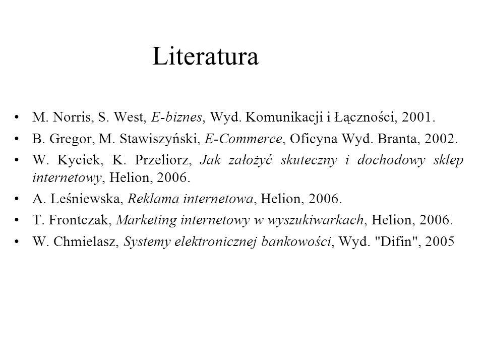 M. Norris, S. West, E-biznes, Wyd. Komunikacji i Łączności, 2001. B. Gregor, M. Stawiszyński, E-Commerce, Oficyna Wyd. Branta, 2002. W. Kyciek, K. Prz