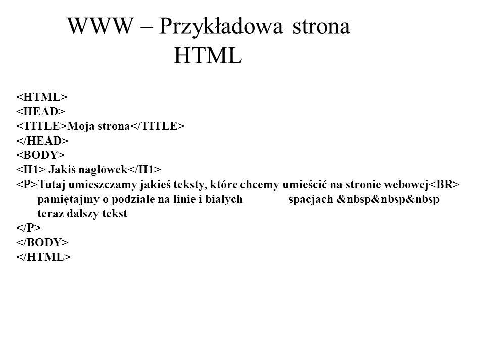 WWW – Przykładowa strona HTML Moja strona Jakiś nagłówek Tutaj umieszczamy jakieś teksty, które chcemy umieścić na stronie webowej pamiętajmy o podzia