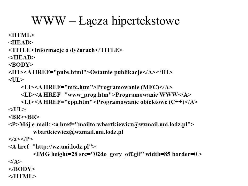 WWW – Łącza hipertekstowe Informacje o dyżurach Ostatnie publikacje Programowanie (MFC) Programowanie WWW Programowanie obiektowe (C++) Mój e-mail: wb