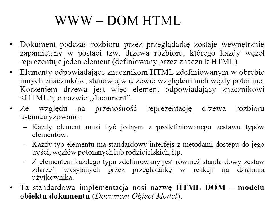 WWW – DOM HTML Dokument podczas rozbioru przez przeglądarkę zostaje wewnętrznie zapamiętany w postaci tzw. drzewa rozbioru, którego każdy węzeł reprez