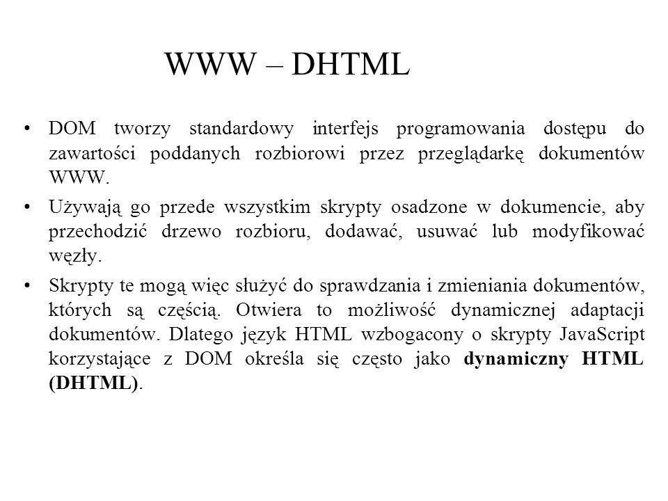 WWW – DHTML DOM tworzy standardowy interfejs programowania dostępu do zawartości poddanych rozbiorowi przez przeglądarkę dokumentów WWW. Używają go pr