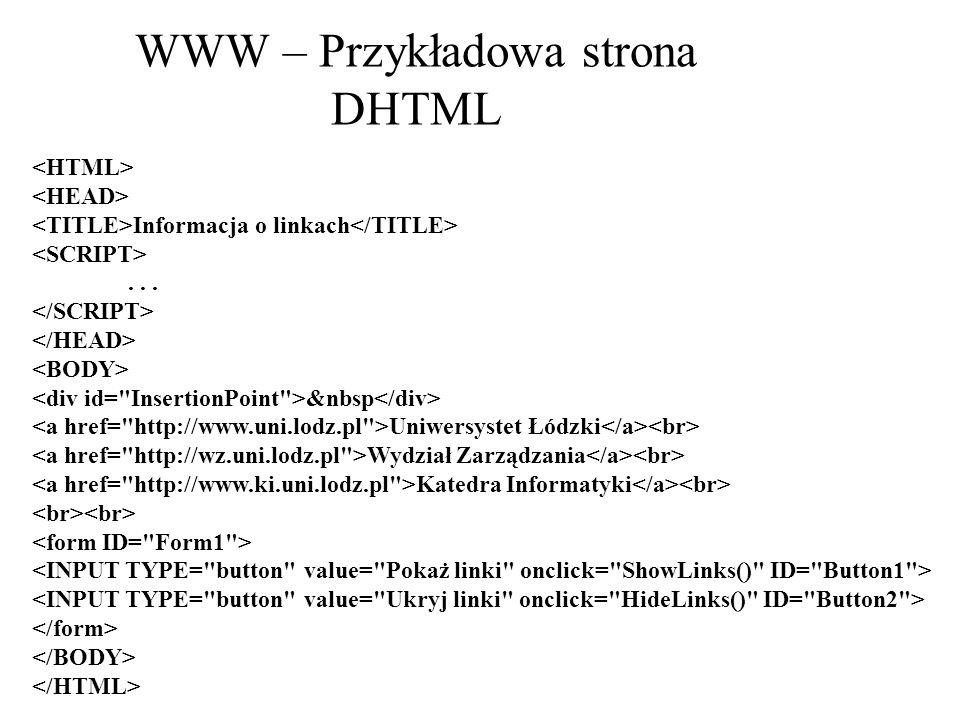 WWW – Przykładowa strona DHTML Informacja o linkach... &nbsp Uniwersystet Łódzki Wydział Zarządzania Katedra Informatyki