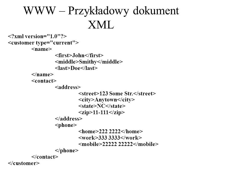 WWW – Przykładowy dokument XML John Smithy Doe 123 Some Str. Anytown NC 11-111 222 2222 333 3333 22222 22222