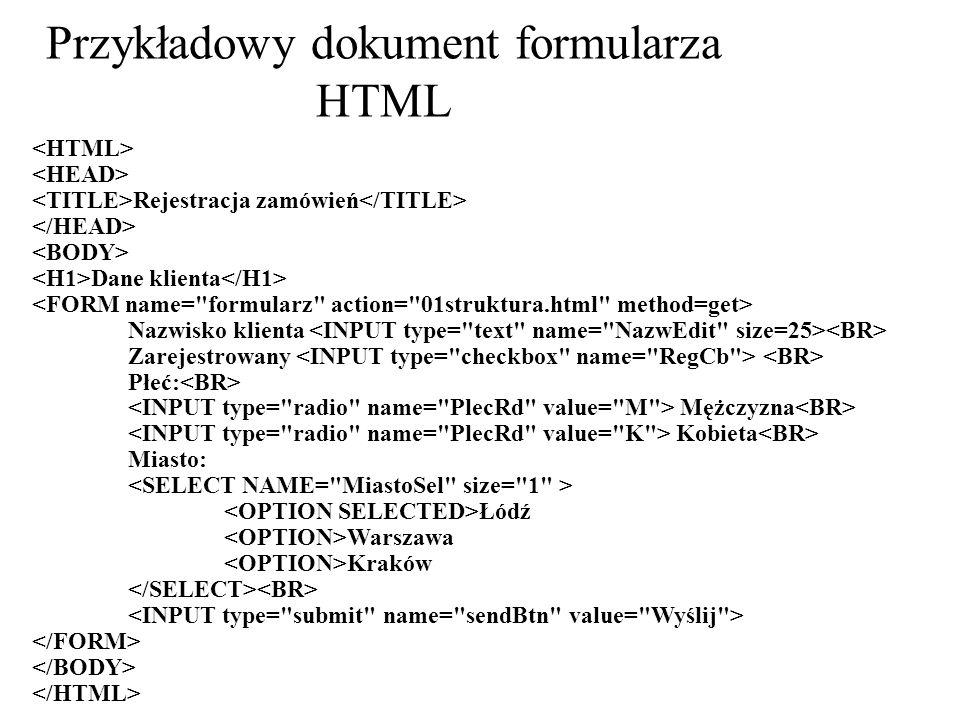 Przykładowy dokument formularza HTML Rejestracja zamówień Dane klienta Nazwisko klienta Zarejestrowany Płeć: Mężczyzna Kobieta Miasto: Łódź Warszawa K