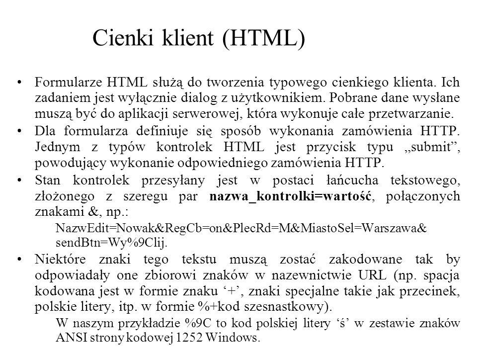 Cienki klient (HTML) Formularze HTML służą do tworzenia typowego cienkiego klienta. Ich zadaniem jest wyłącznie dialog z użytkownikiem. Pobrane dane w