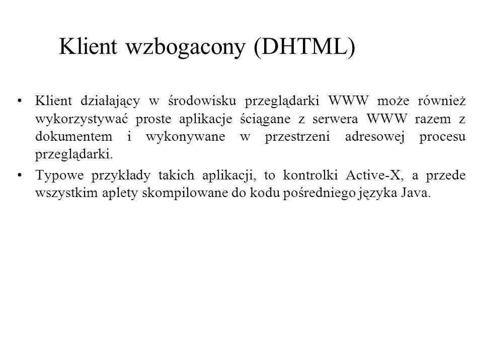 Klient wzbogacony (DHTML) Klient działający w środowisku przeglądarki WWW może również wykorzystywać proste aplikacje ściągane z serwera WWW razem z d