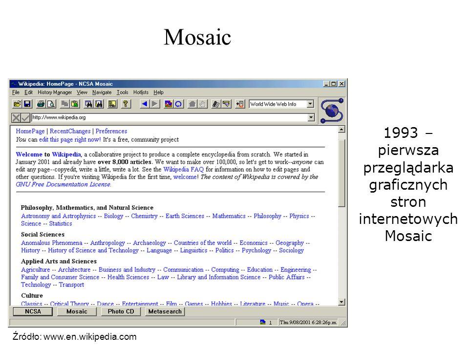 Mosaic 1993 – pierwsza przeglądarka graficznych stron internetowych Mosaic Źródło: www.en.wikipedia.com