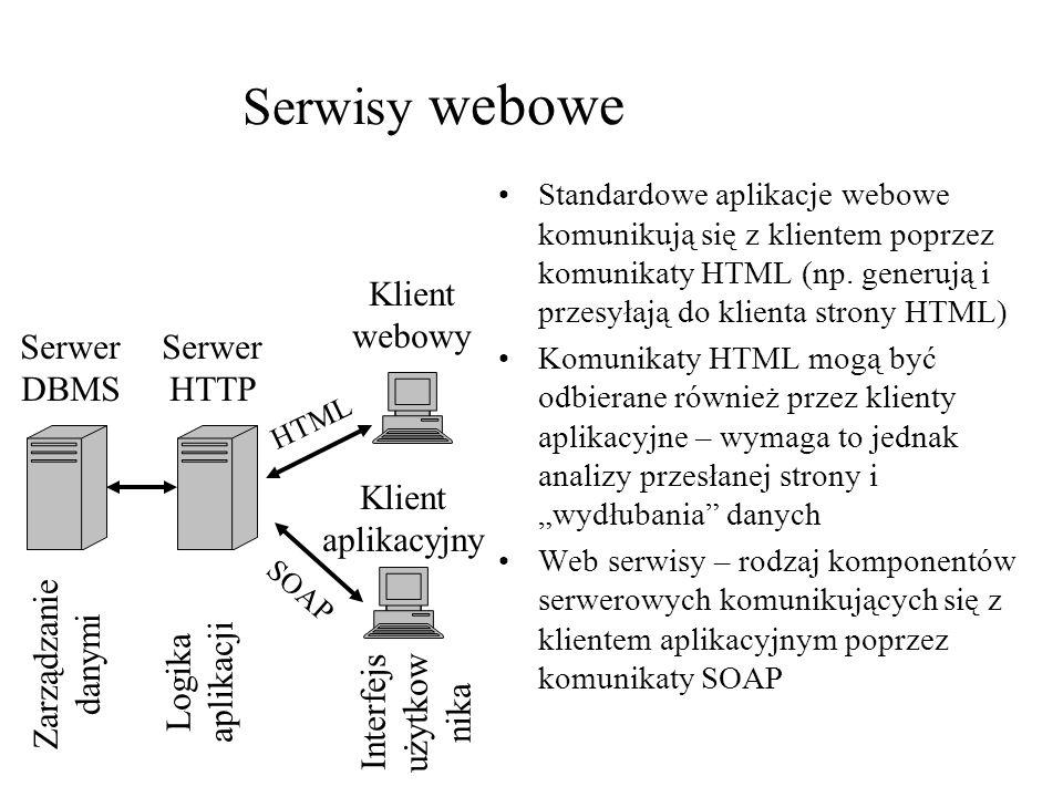 Serwisy webowe Standardowe aplikacje webowe komunikują się z klientem poprzez komunikaty HTML (np. generują i przesyłają do klienta strony HTML) Komun