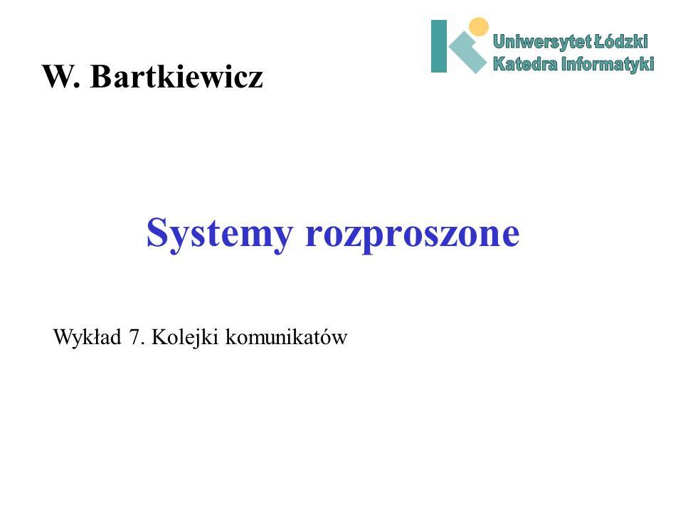 Systemy rozproszone W. Bartkiewicz Wykład 7. Kolejki komunikatów