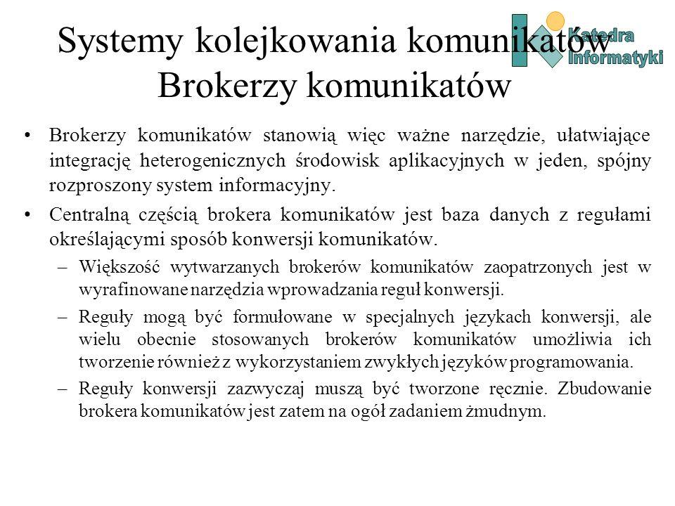 Systemy kolejkowania komunikatów Brokerzy komunikatów Brokerzy komunikatów stanowią więc ważne narzędzie, ułatwiające integrację heterogenicznych środowisk aplikacyjnych w jeden, spójny rozproszony system informacyjny.