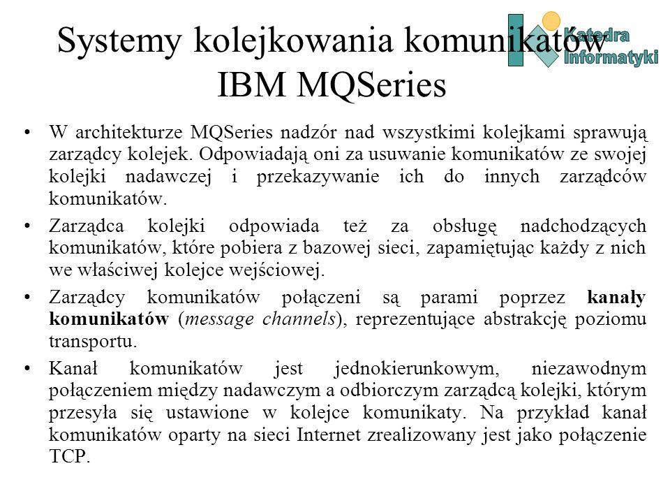 Systemy kolejkowania komunikatów IBM MQSeries W architekturze MQSeries nadzór nad wszystkimi kolejkami sprawują zarządcy kolejek.