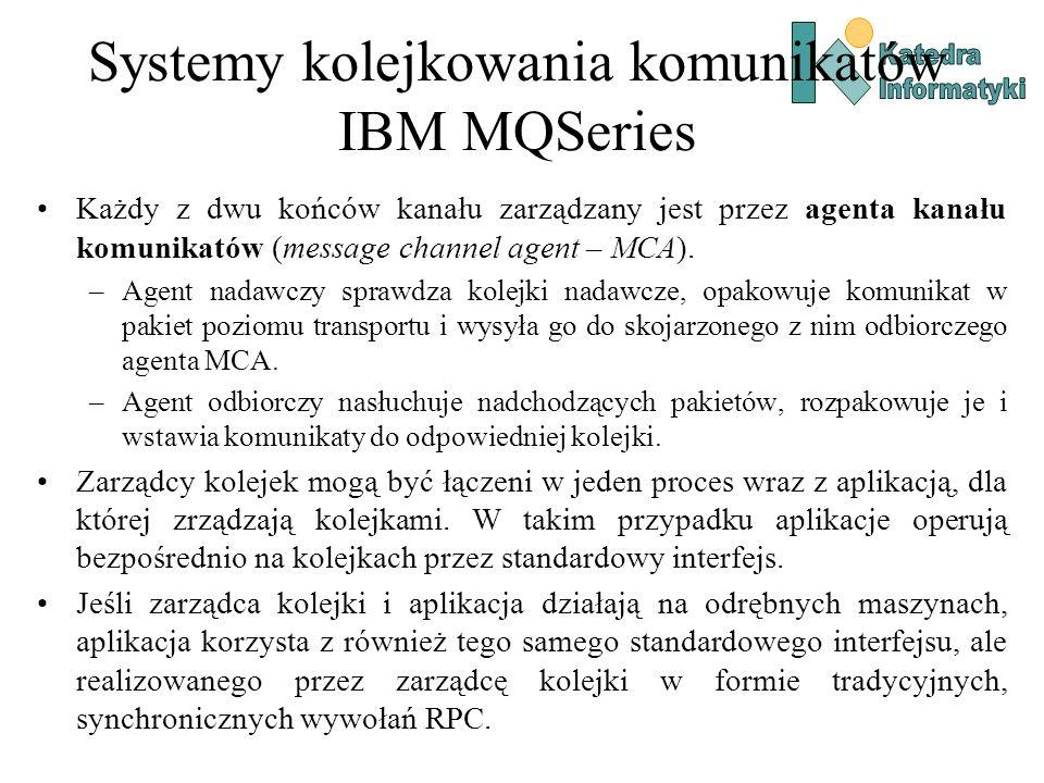Systemy kolejkowania komunikatów IBM MQSeries Każdy z dwu końców kanału zarządzany jest przez agenta kanału komunikatów (message channel agent – MCA).