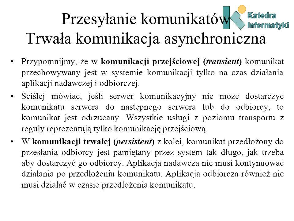 Przesyłanie komunikatów Trwała komunikacja asynchroniczna Przypomnijmy, że w komunikacji przejściowej (transient) komunikat przechowywany jest w systemie komunikacji tylko na czas działania aplikacji nadawczej i odbiorczej.