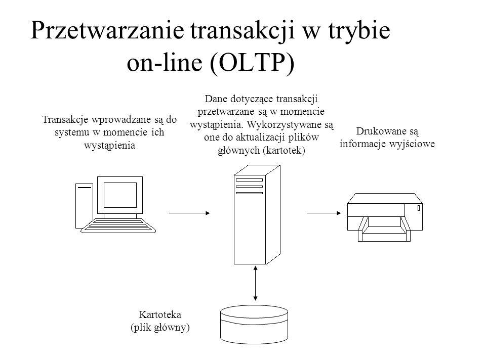 Przetwarzanie transakcji w trybie on-line (OLTP) Transakcje wprowadzane są do systemu w momencie ich wystąpienia Dane dotyczące transakcji przetwarzan