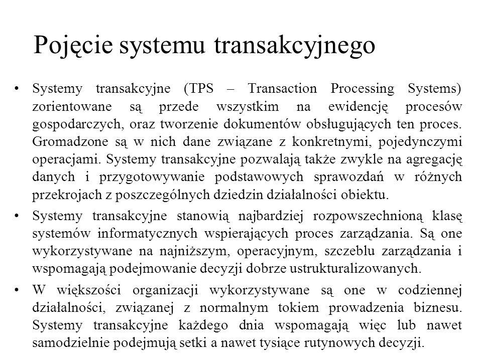 Systemy transakcyjne (TPS – Transaction Processing Systems) zorientowane są przede wszystkim na ewidencję procesów gospodarczych, oraz tworzenie dokum