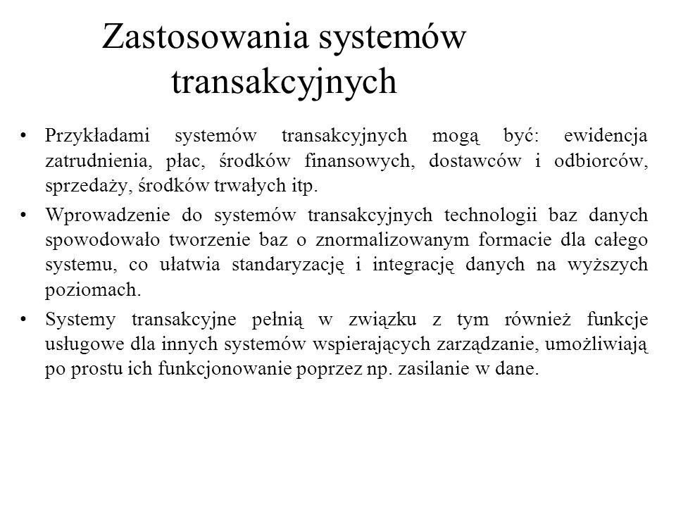 Przykładami systemów transakcyjnych mogą być: ewidencja zatrudnienia, płac, środków finansowych, dostawców i odbiorców, sprzedaży, środków trwałych it