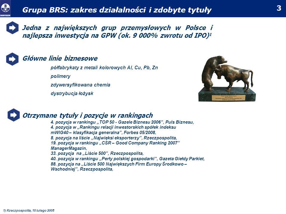 4 Grupa BRS/IPX: notowania i akcjonariusze IPO Boryszewa miało miejsce w 1996r; akcje były emitowane po 0,30 zł 1 Głównym akcjonariuszem jest Roman Karkosik – największy prywatny inwestor na GPW W akcjonariacie znajdują się również duże fundusze emerytalne i inwestycyjne * wraz z podmiotami powiązanymi 1)porównywalna z ceną obecną (skorygowana o splity) Boryszew akcjonariat Impexmetal akcjonariat