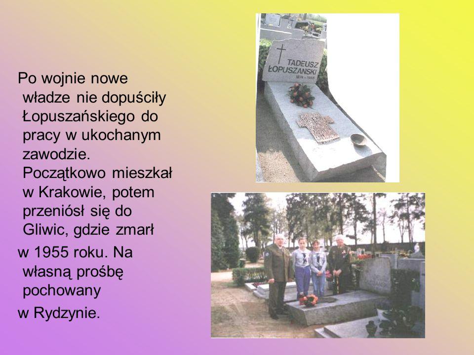 Po wojnie nowe władze nie dopuściły Łopuszańskiego do pracy w ukochanym zawodzie. Początkowo mieszkał w Krakowie, potem przeniósł się do Gliwic, gdzie