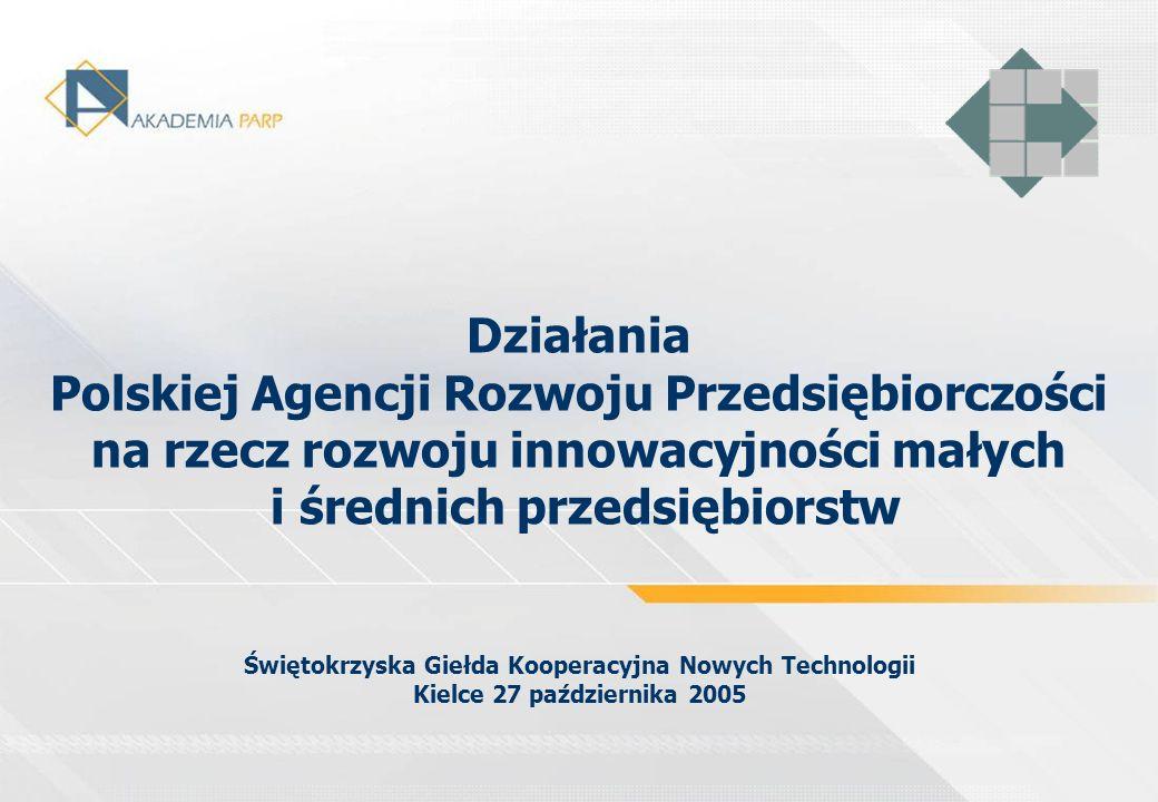 Działania Polskiej Agencji Rozwoju Przedsiębiorczości na rzecz rozwoju innowacyjności małych i średnich przedsiębiorstw Świętokrzyska Giełda Kooperacy
