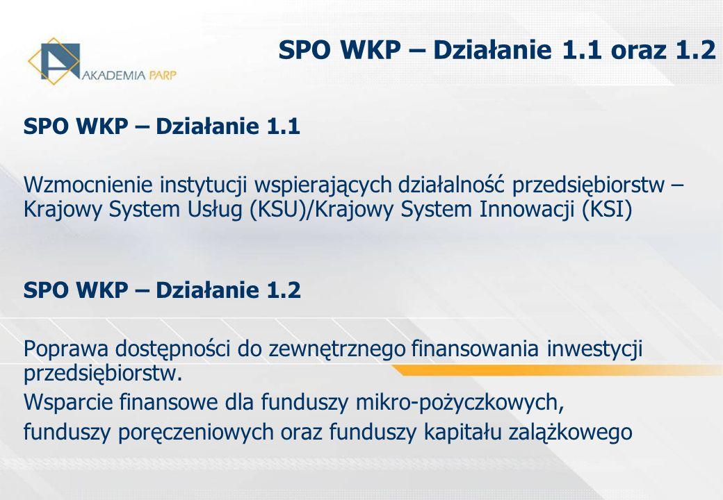 SPO WKP – Działanie 1.1 oraz 1.2 SPO WKP – Działanie 1.1 Wzmocnienie instytucji wspierających działalność przedsiębiorstw – Krajowy System Usług (KSU)