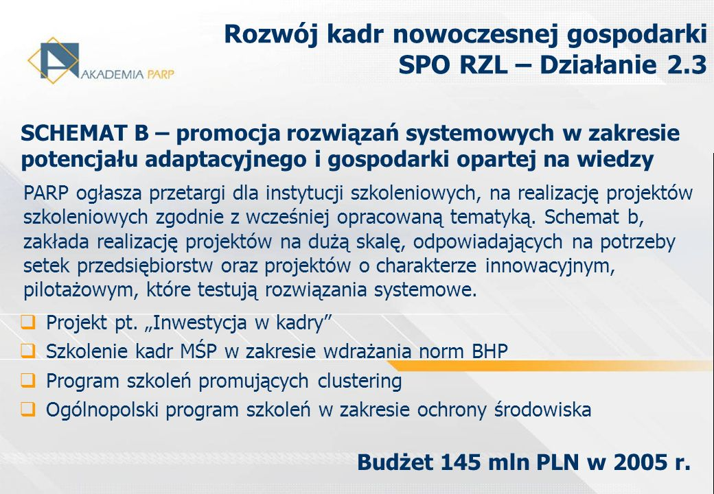 Rozwój kadr nowoczesnej gospodarki SPO RZL – Działanie 2.3 PARP ogłasza przetargi dla instytucji szkoleniowych, na realizację projektów szkoleniowych
