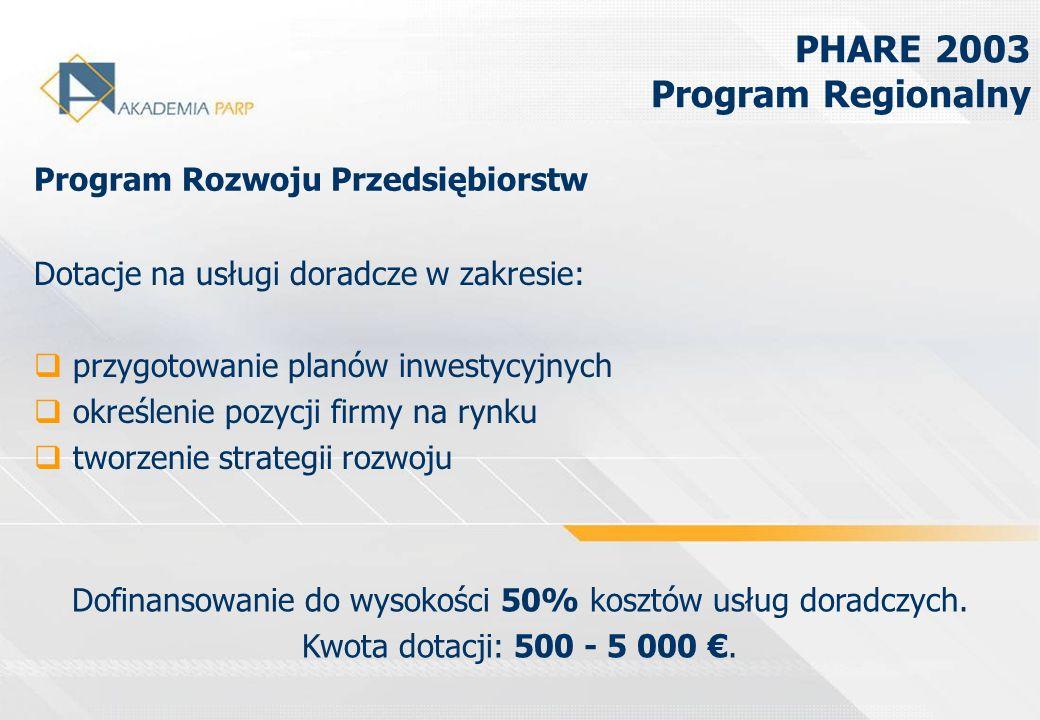 Dotacje na usługi doradcze w zakresie: przygotowanie planów inwestycyjnych określenie pozycji firmy na rynku tworzenie strategii rozwoju PHARE 2003 Pr
