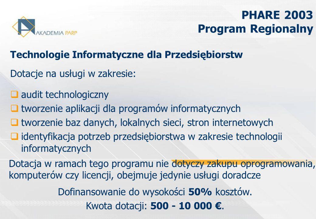 PHARE 2003 Program Regionalny Dotacje na usługi w zakresie: audit technologiczny tworzenie aplikacji dla programów informatycznych tworzenie baz danyc