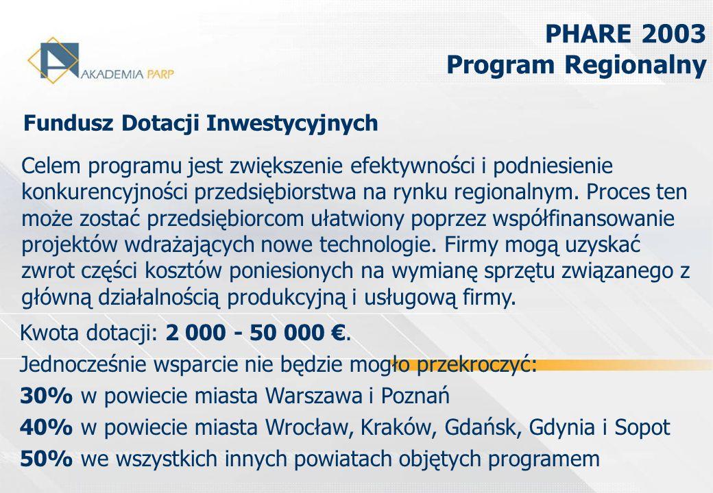 PHARE 2003 Program Regionalny Fundusz Dotacji Inwestycyjnych Celem programu jest zwiększenie efektywności i podniesienie konkurencyjności przedsiębior
