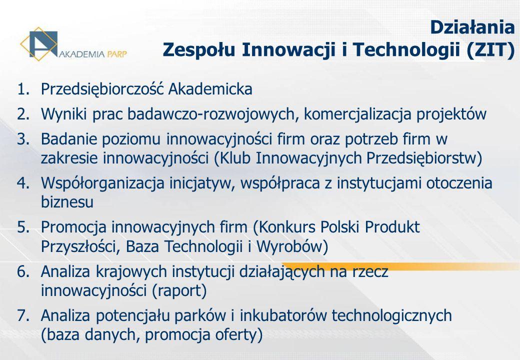 1.Przedsiębiorczość Akademicka 2.Wyniki prac badawczo-rozwojowych, komercjalizacja projektów 3.Badanie poziomu innowacyjności firm oraz potrzeb firm w
