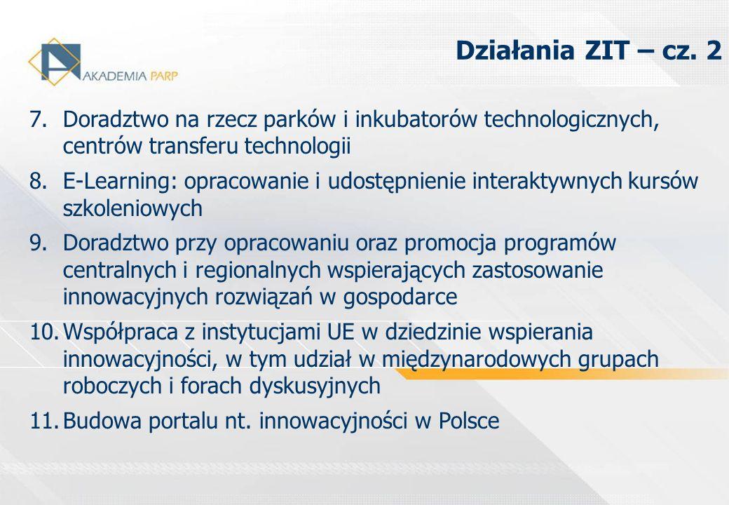 7.Doradztwo na rzecz parków i inkubatorów technologicznych, centrów transferu technologii 8.E-Learning: opracowanie i udostępnienie interaktywnych kur