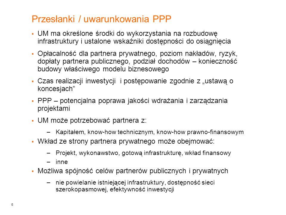 6 Przesłanki / uwarunkowania PPP UM ma określone środki do wykorzystania na rozbudowę infrastruktury i ustalone wskaźniki dostępności do osiągnięcia O