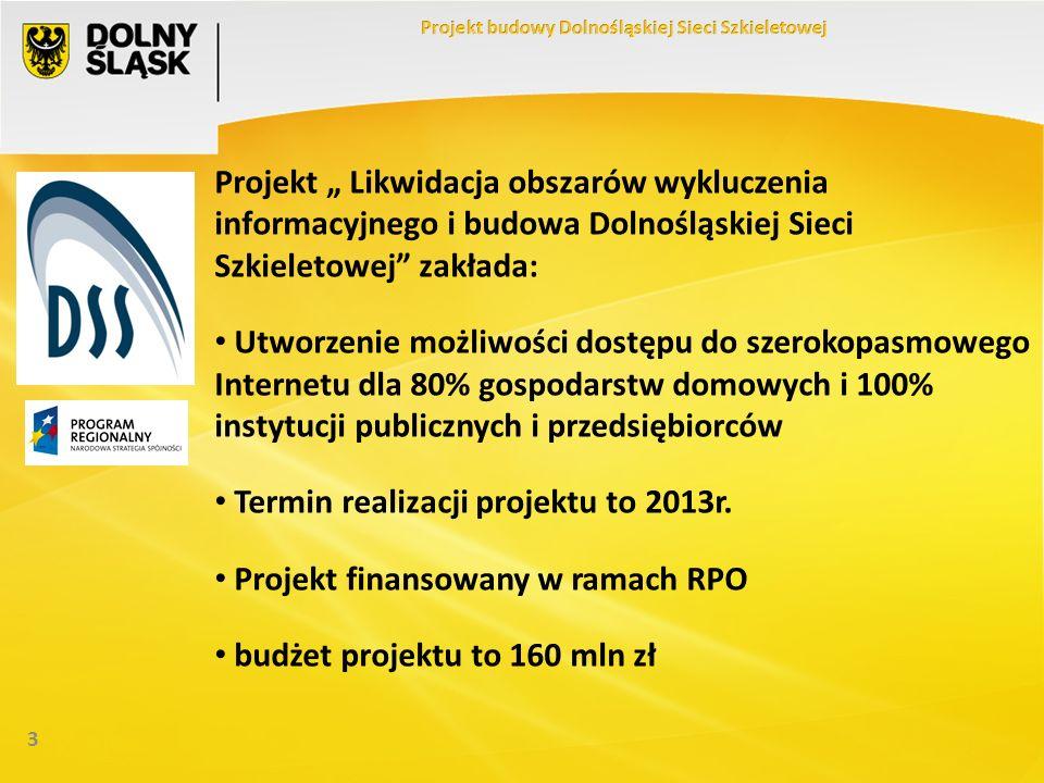 3 Projekt Likwidacja obszarów wykluczenia informacyjnego i budowa Dolnośląskiej Sieci Szkieletowej zakłada: Utworzenie możliwości dostępu do szerokopasmowego Internetu dla 80% gospodarstw domowych i 100% instytucji publicznych i przedsiębiorców Termin realizacji projektu to 2013r.