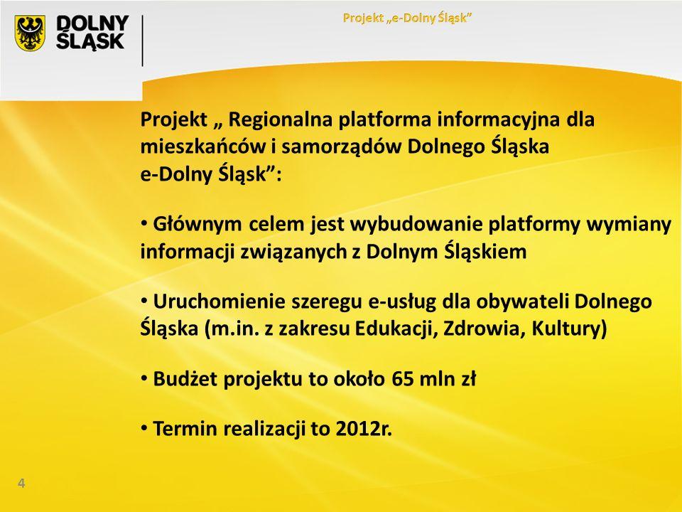 4 Projekt Regionalna platforma informacyjna dla mieszkańców i samorządów Dolnego Śląska e-Dolny Śląsk: Głównym celem jest wybudowanie platformy wymian