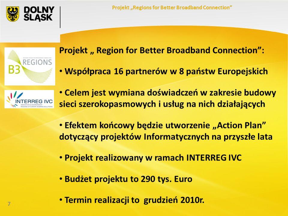 7 Projekt Region for Better Broadband Connection: Współpraca 16 partnerów w 8 państw Europejskich Celem jest wymiana doświadczeń w zakresie budowy sieci szerokopasmowych i usług na nich działających Efektem końcowy będzie utworzenie Action Plan dotyczący projektów Informatycznych na przyszłe lata Projekt realizowany w ramach INTERREG IVC Budżet projektu to 290 tys.
