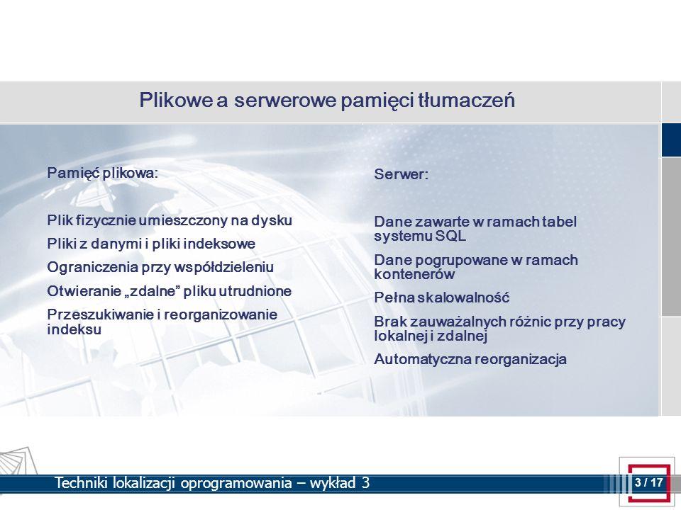 3 3 / 17 Techniki lokalizacji oprogramowania – wykład 3 Plikowe a serwerowe pamięci tłumaczeń Pamięć plikowa: Plik fizycznie umieszczony na dysku Plik